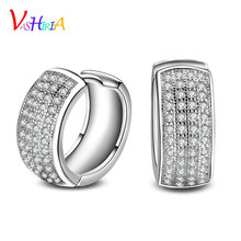 Woman earrings fashion jewelry 925 silver Multiple rows of AAA zirconia  fashion earrings female classic hoop earrings for wo