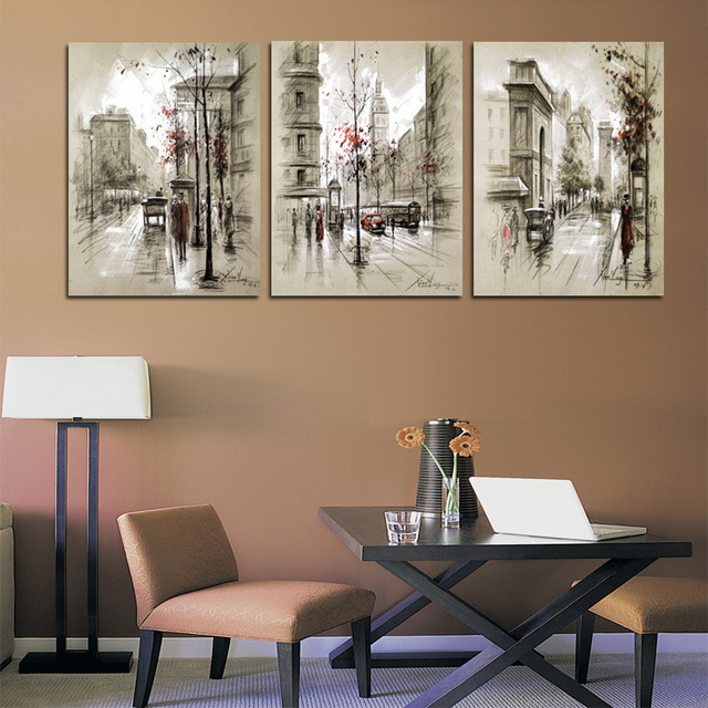 Modern Paintings Home Decor Abstract Canvas Painting Retro City Street Landscape Decorative Pictures 3 Panel Wall