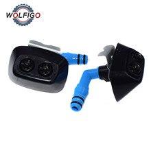 WOLFIGO Faro de parachoques delantero izquierdo y derecho, aspersor de arandela, boquilla de chorro y Clip para Saab 9 3 93 2003 2012 12803972 1451007