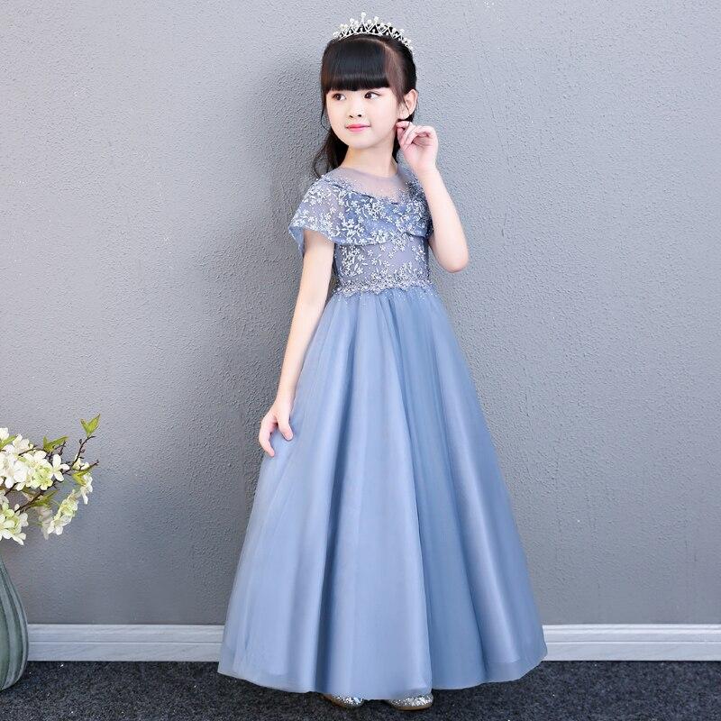 Girls Babies Party Dress Kids Elegant Princess Lace Long Evening Dress For Wedding Ceremony Kids Dresses