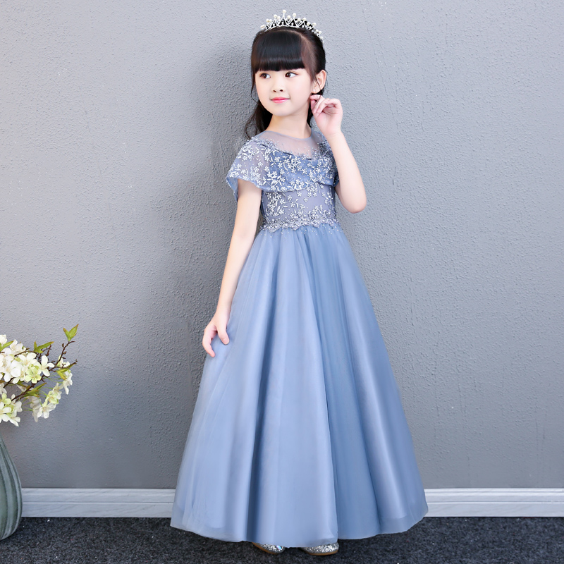 Girls Babies Party Dress Kids Elegant Princess Lace Long Evening Dress For Wedding Ceremony Kids Dresses For Teen Girls Clothes цена