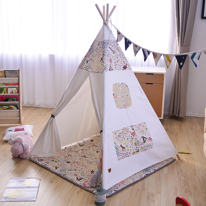 Canvas Floral Kids Indian Play Teepee Tent Tipi Tente Zelt Room Decor red chevron canvas dog tent house pet teepee tipi dog tee pee cat teepee