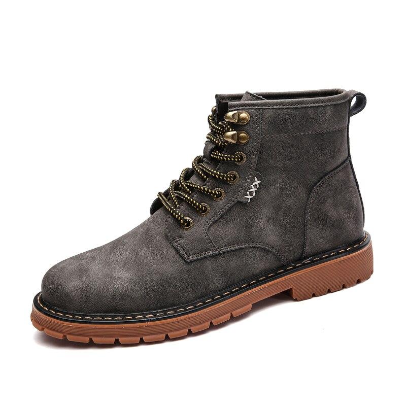 Top Mode De gris marron Travail Casual Botas Court Chaudes Plat Hiver Noir Neige Homme Noir Hommes Chaussures High Bottes Ramialali vn7zqU
