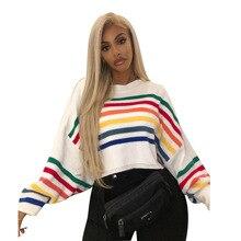 Mr.nut Street wearing bat sleeves rainbow strip knit sweater office temperament casual fashion ladies sweater casual black loose bat wing sleeves design sweater