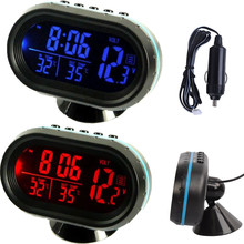 Car Auto Voltmeter Thermometer Electronic Alarm Clock 12V Digital LCD Blue & Orange LED Light Display Volt Meter Gauge Universal