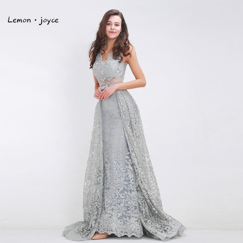 6098e957da16 Κομψά γκρίζα βραδινά φορέματα 2017 Νέο στυλ V-αυλακωμένο sequ