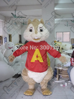 export high quality customized alvin mascot costumes red shirt chipmunk costumes