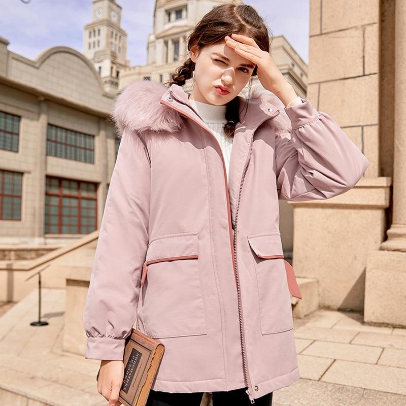 Thick Winter Jacket Women Pink Large Fur Collar Women Parka With Hood 2019 New Arrival Hit Color Belt Design Womens Winter Coat