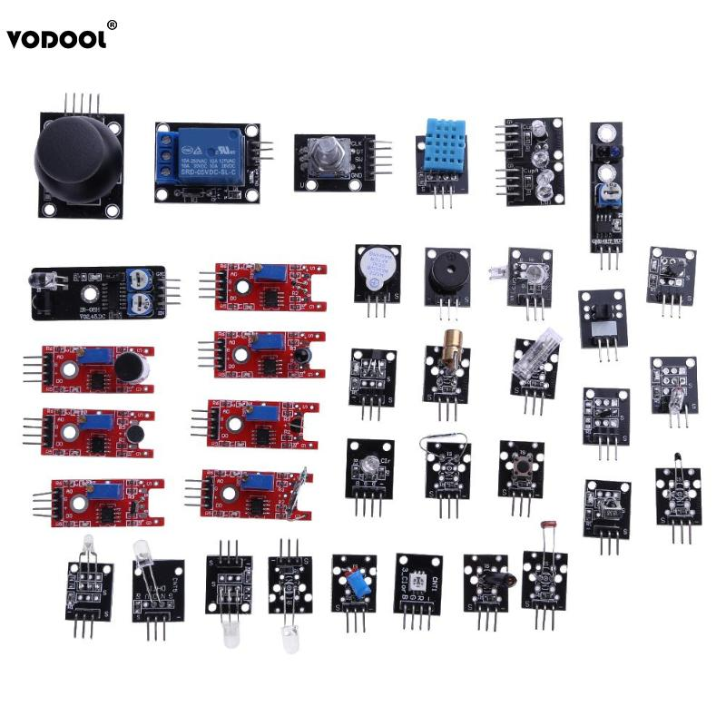 цена VODOOL 37Pcs/Set Sensor Module Kits For Raspberry PI Arduino R3 Mega2560 Mega328 LED Sensor Switch Module Set With Box