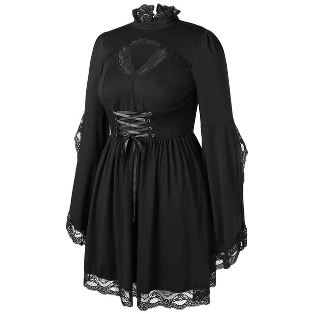 PlusMiss Plus Size Gothic Bell Flare Sleeve Black Lace Party Dresses Women Vintage Retro 50s Sexy Lace Up Dress Big Size Autumn 2