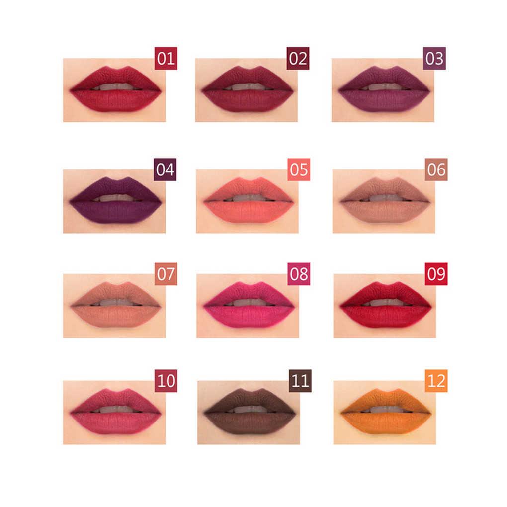 12 Pz/set Nuove Donne di Modo Impermeabile Lip Liner Trucco Set di Lunga Durata Matte Rossetti Lip Matita Penna Ragazze Comestic Strumenti
