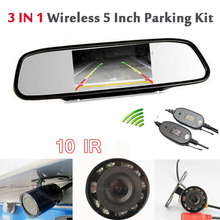 Wireless Transmitter receiver 4.3′ LCD car Mirror Monitor + vehicle Backup reversing infrared Rear View Parking System Assist