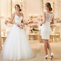 Robe De Mariage 2019 Cheap 2 en 1 Princess Ball Gown Wedding Dress Sexy Spaghetti Strap Lace Wedding Gowns Custom Made