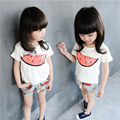 2017 Girls Clothing Sets Summer Watermelon Pattern Print Kids Clothes T-shirt Shorts Cute Baby Clothing Suit L9099