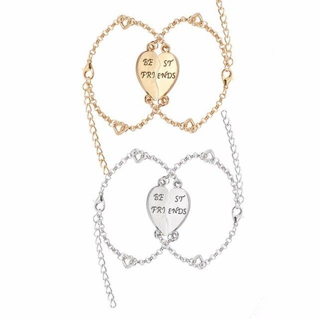 2pcs Broken Love Heart Bracelets Bff Charm Bracelet For Women Best Friends Forever Jewelry Gold Silver