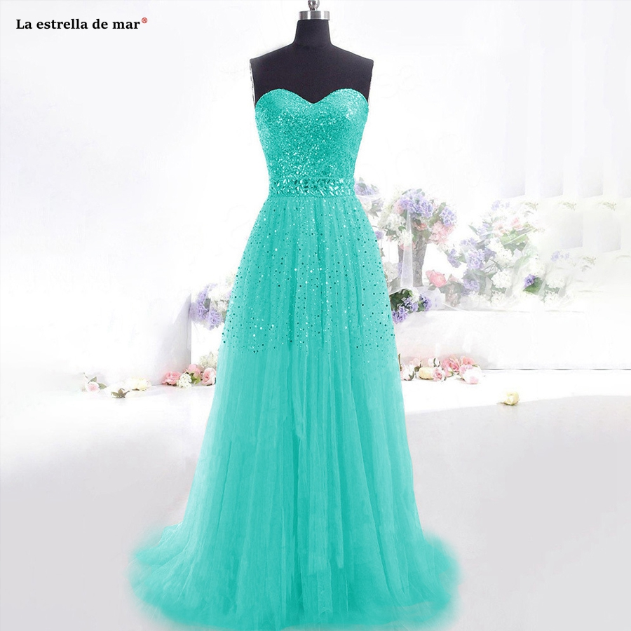 Plus Size Wedding Guest Dress2019 New Sexy Sweetheart Halter Sequined Tulle Crystal A Line Turquoise Bridesmaid Dresses Long
