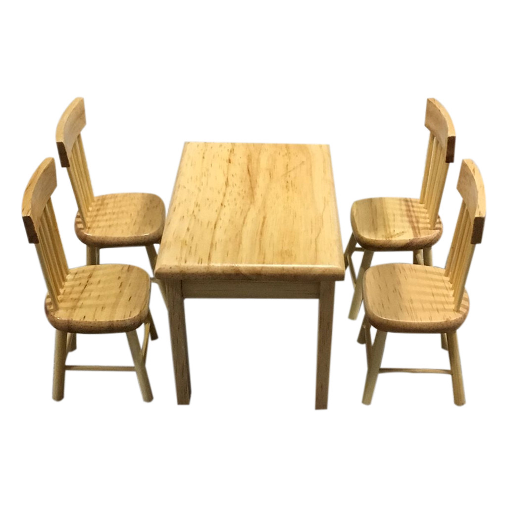 1:12 Dollhouse Miniature Furniture Wooden color Dining Table Chair Set Kitchen Doll house decoration Kids Toy Miniature C604