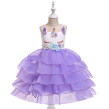 New Unicorn headband Party Girls Dress Elegant Cinderella Elsa Costume Summer Wedding Dresses For Kids