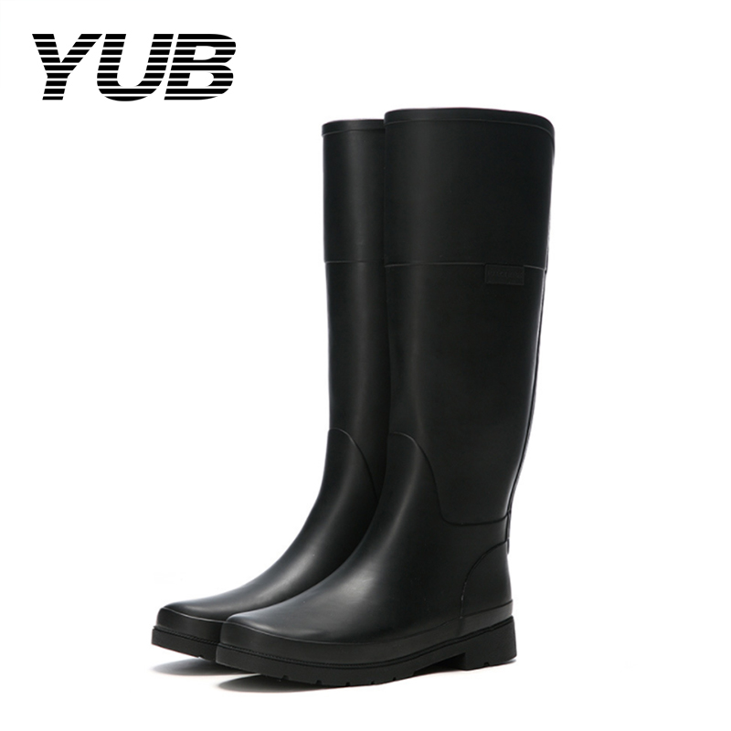 YUB Brand PVC Women Solid Color Rain Boots with Fashion High Quality Knee-high Rain Shoes yub brand waterproof rain boots for women with solid color slip on winter mid calf shoes for girls