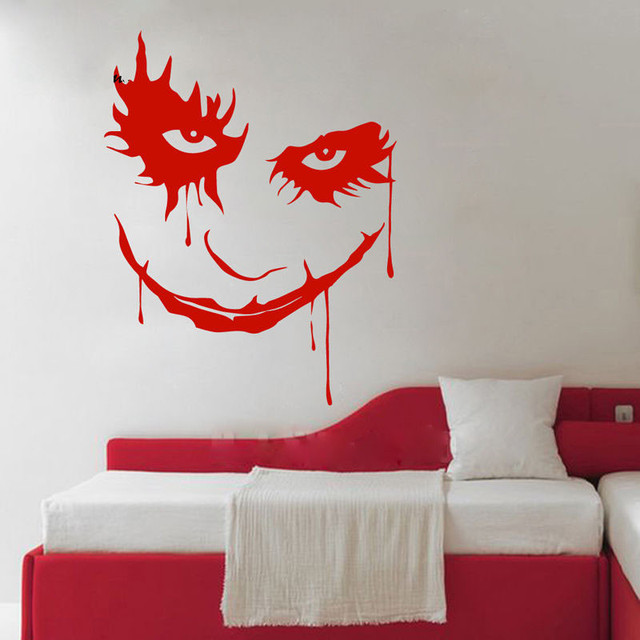 Scary Monster Face Ghost Blood Horror Cartoon Clown Removable Vinyl Wall  Sticker Decal Decor Bedroom Sofa