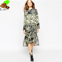 Europe Women S Summer National Trend Gradient Print High Waist Loose Long Dress Vintage Fashion Print