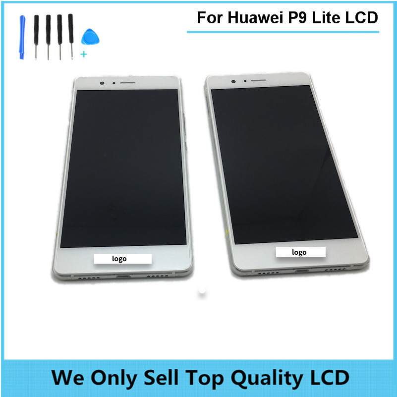 Replacement LCD For HUAWEI Ascend P9 Lite Display Screen with Touch Screen Digitizer with Frame Bezel Assembly free shipping original lcd for huawei p7 ascend lcd display touch screen assembly 5 inch lcd replacement without frame free tools