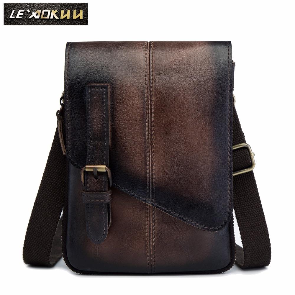 Qualty Leather Men Casual Design Multifunction Messenger Cross Body Shoulder Bag Travel Fashion Waist Belt Pack Bag 611-1db