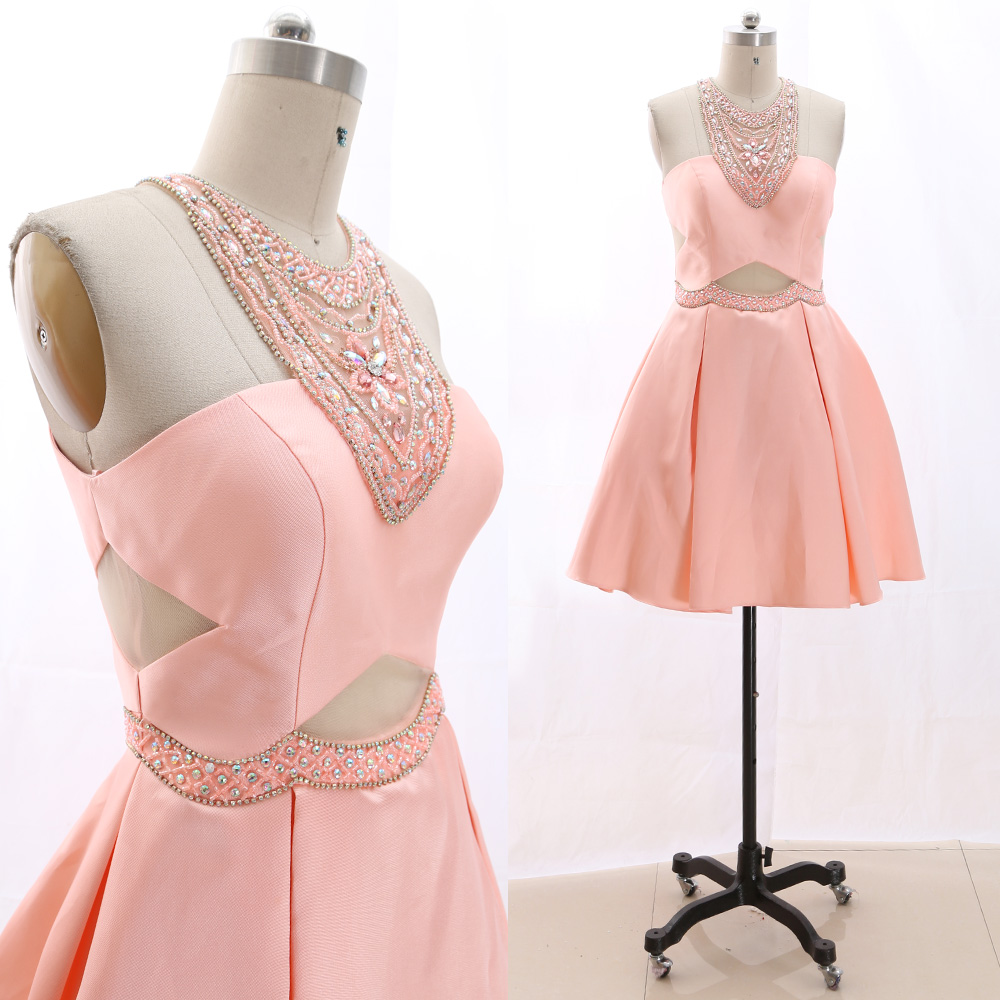 MACloth Peach A-Line O Neck Knee-Length Short Crystal Satin   Prom     Dresses     Dress   M 266205 Clearance
