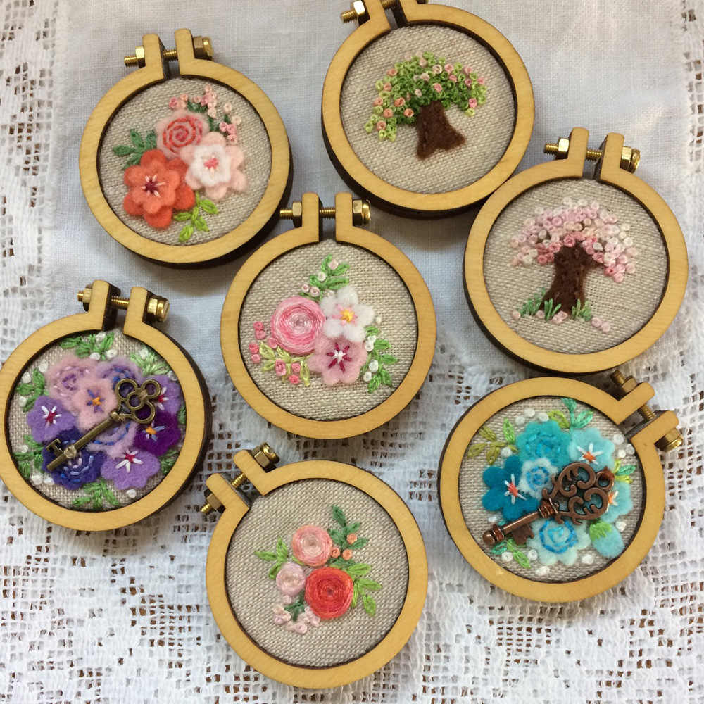 Rosebeading Cross Stitch Mini Frame Tiny Pendant Small embroidery hoop Necklace Pendant DIY cross stitching Wooden Pendant
