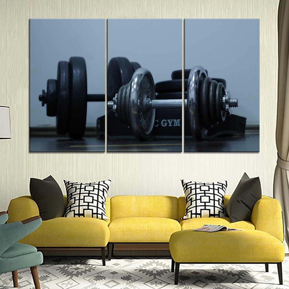 Dumbbells Gym Weight Disks Sport Painting 5 Piece Style Picture High Quality Canvas Print Type Modern Home Decor Wall Art Poster in Painting Calligraphy from Home Garden