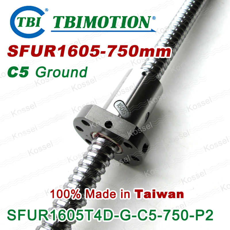 TBI 1605 C5 750mm ball screw 5mm lead with SFU1605 ballnut Ground for high precision CNC diy kit SFU set tbi 1605 c3 400mm ball screw 5mm lead with sfu1605 ballnut ground for high precision cnc diy kit of taiwan