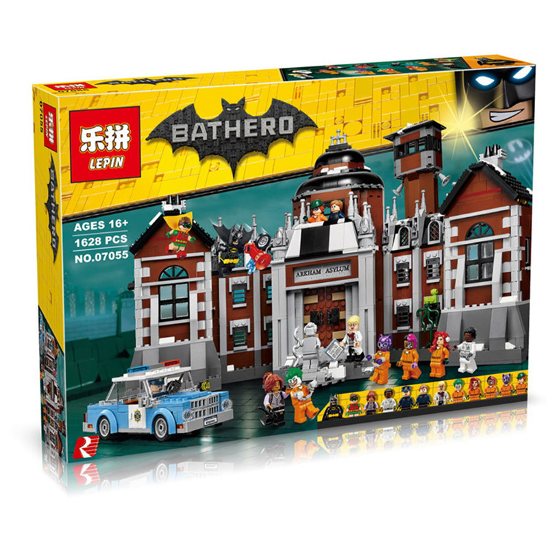 New 1628Pcs Lepin 07055 Genuine Series Batman Movie Arkham Asylum Building Blocks Bricks Toys with 70912 gift 2018 dhl lepin 07055 1628pcs new batman movie series the arkham s lunatic asylum set building blocks bricks toys 70912