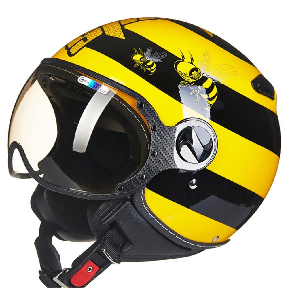 Bees Motorcycle Helmet Chopper Open Face Vintage Helmet 210c5 Moto Casque Casco motocicleta Capacete Pilot Men Women Helmets
