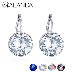 MALANDA Brand 2018 New White Bella Crystal Stud Earrings For Women Crystal From Swarovski Fashion Round Earrings wedding Jewelry