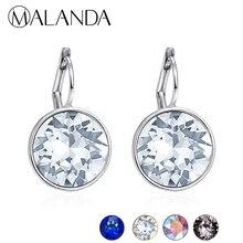 MALANDA Brand 2018 New White Bella Crystal Stud Earrings For Women Crystal From