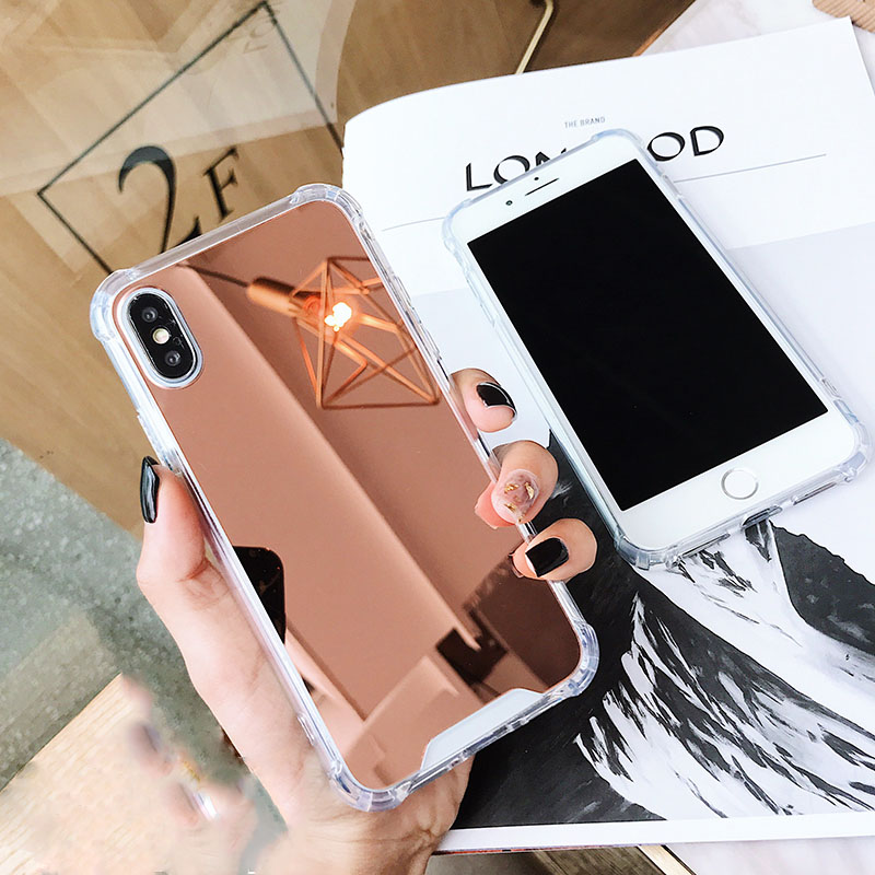 Cell Phone - Luxury Plating Mirror Phone Case Cover For iPhone 7 Case Silicon For iPhone 6 6S 8 Plus X 10 XR XS XS Max Case Coque