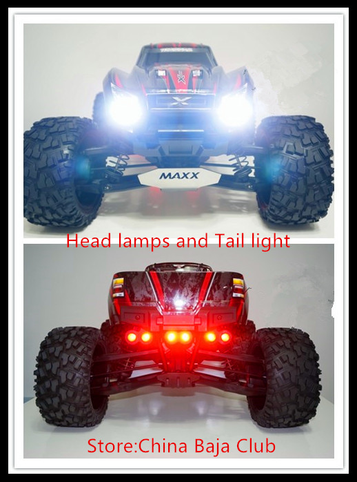 RC Parts,TRAXXAS X-MAXX LED Headlamps Taillight Set Including head light bracket and switch 2pcs traxxas original 1 5 x maxx tires wheels tire tyre for 1 5 traxxas x maxx rc monster truck model 7772