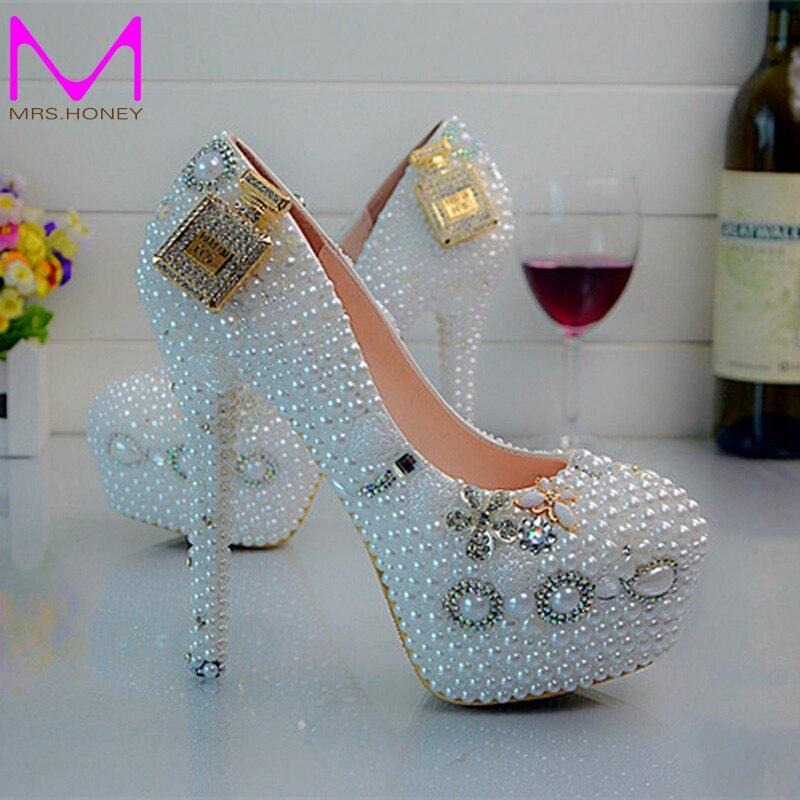 ФОТО Designer Wedding Shoes 4 Inches Heel Snow White Bridal Dress Shoes Round Toe Platform Pumps Sexy Slip On Prom Shoes EUR 34-45