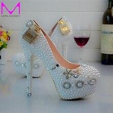 Designer Hochzeit Schuhe 4 Zoll Ferse Schnee Weiß Brautkleid Schuhe runde Kappe Plattform Pumpen Sexy Beleg Auf Prom Schuhe EUR 34-45