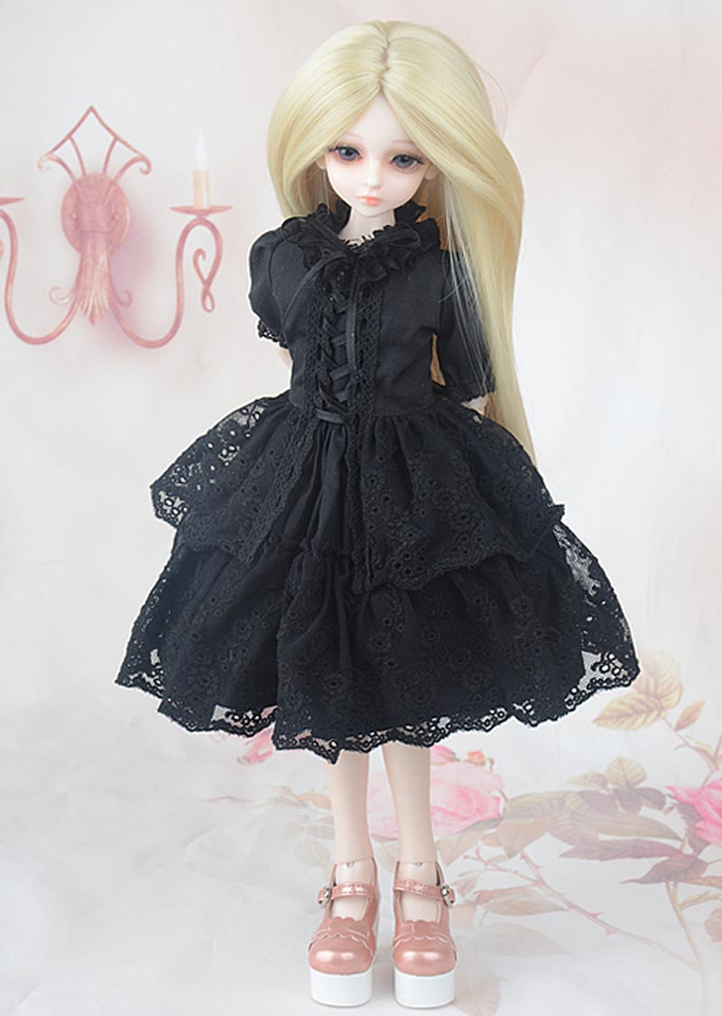 ZORONENKE Free Shipping <font><b>1/3</b></font> 1/4 1/6 1/8 <font><b>BJD</b></font> Doll Dress <font><b>Clothes</b></font> <font><b>SD</b></font> Doll Black Dress For Dolls Accessories image