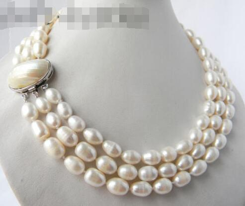 10X10 jewerly free shipping 3Strands 18 9.5mm White Rice Freshwater Pearl Necklace