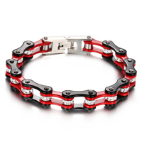 Link Chain Biker Motorcycle Bracelet Women Femme Black Red Tone 316L Stainless Steel White Crystal Jewelry