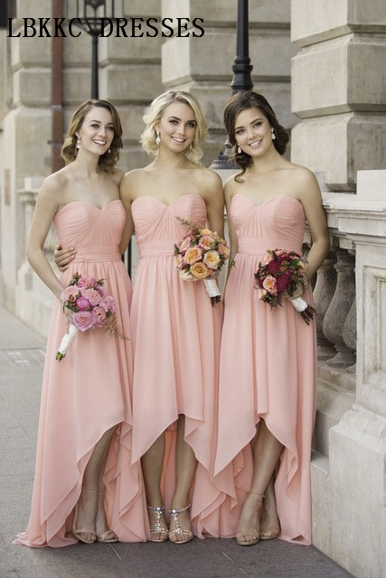 High Low Sweetheart   Bridesmaid     Dresses   Chiffon Long Robe Demoiselle D'honneur Sleeveless Strapless Wedding Guest   Dress   Formal