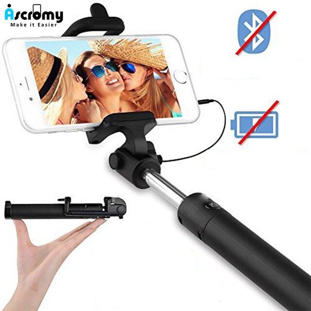 Ascromy wysuwane przewodowy ręczny kij do Selfie Selfiestick 3.5mm przewód AUX monopod dla iPhonów iOS telefon komórkowy z Androidem akcesoria