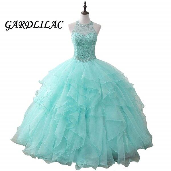 Weddings & Events Halter Mint Quinceanera Dresses 2019 Long Prom Dress Beaded Ruffles Organza Dance Ball Gown Vestidos De 15 Anos Sweet 16 Dress