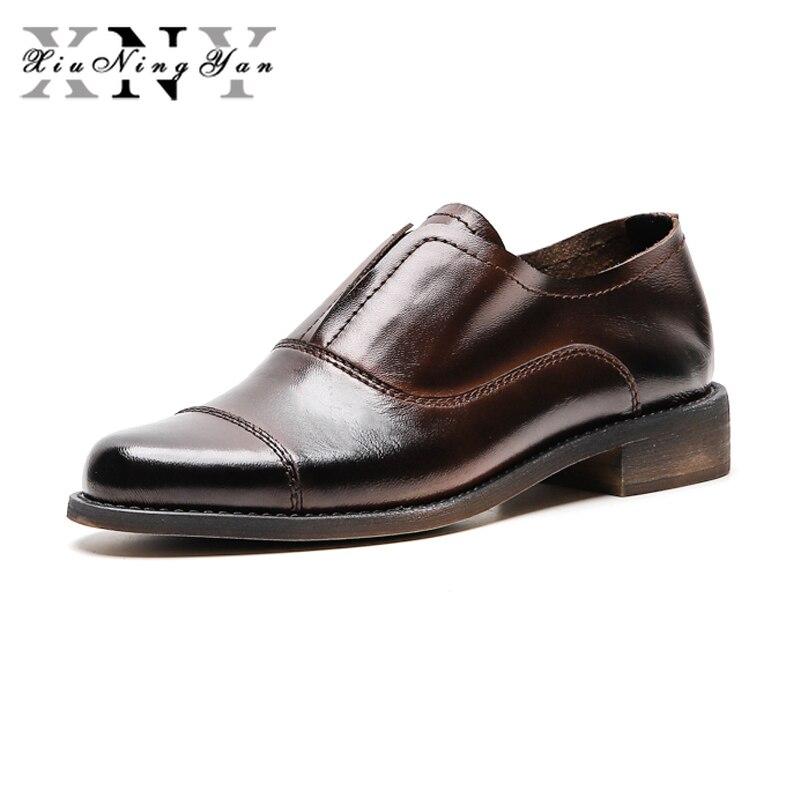 XiuNingYan cuir véritable Brogues Designer femmes Vintage chaussures plates grande taille à la main marron Oxford chaussures pour femme 2019 automne