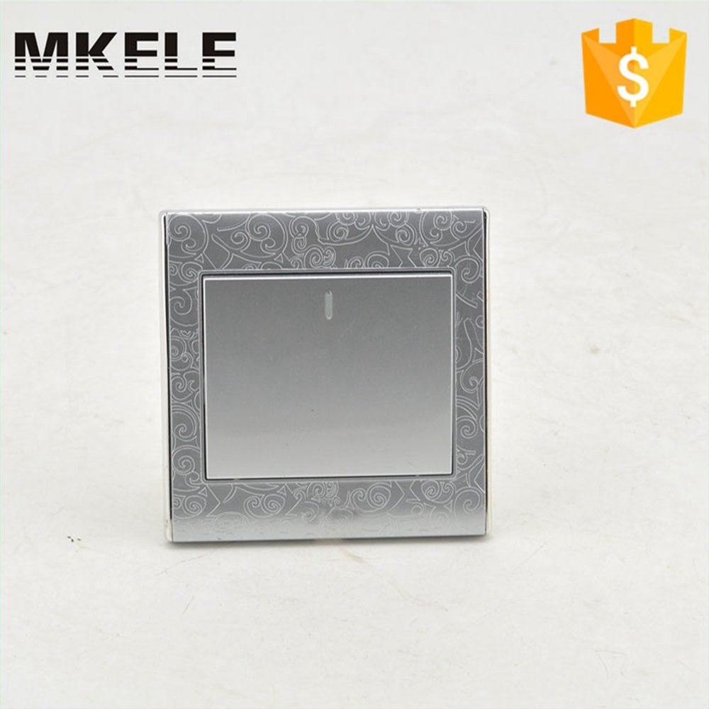 цена на Fashion MK-WS05002(Silver) CE Flame Retardant Material Silver Color 1 Gang 2 Way Design Electric Wall Light Switch For Home
