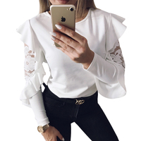 DeRuiLaDy Ruffle Lace Blouse Shirt Women Long Sleeve Floral White Blouses Female Tops Elegant Fashion Blouse Shirts blusas femme 1