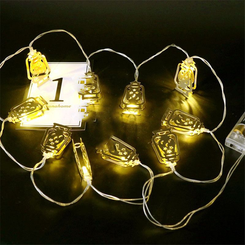Gold Led Star Moon Lantern Light String Holiday Fairy Lamp Iron Art Battery Box Ramadan Festival Decor Bedroom Party Cute 10 In From Lights