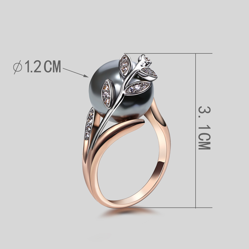 Gran descuento venta colgante collar brazalete pendientes anillo mejor regalo para mamá oro rosa gris perla de moda de 4 piezas conjunto de joyas - 6